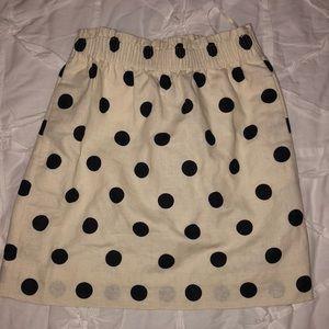 Jcrew Ivory & Navy Polka Dot Skirt!!
